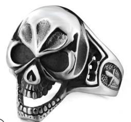 R156 Stainless Steel Evil Face Skull Biker Ring