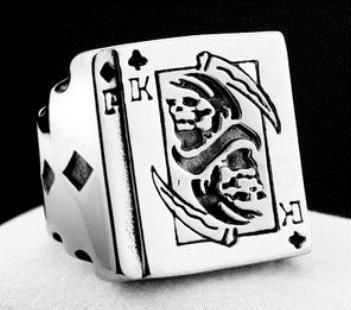 R157 Stainless Steel King of Clubs Skull Biker Ring