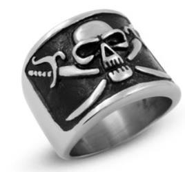 R159 Stainless Steel Pirate Symbol Skull Biker Ring