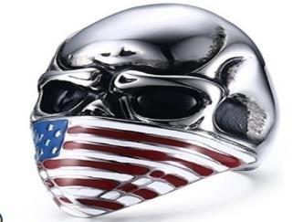 R165 Stainless Steel Flag Face Biker Ring