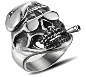 R166 Stainless Steel Cruiser Skull Biker Ring