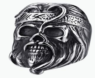 R167 Stainless Steel Anarchy Skull Face Biker Ring