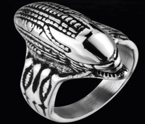 R169 Stainless Steel Alien Head Biker Ring