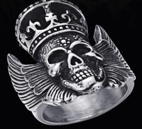 Image R170 Stainless Steel King Head Biker Ring