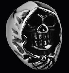 R172 Stainless Steel Grim Skull Biker Ring
