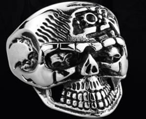 Image R173 Stainless Steel Super Face Biker Ring