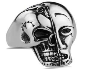 Image R181 Stainless Steel Terminator Skull Face Biker Ring