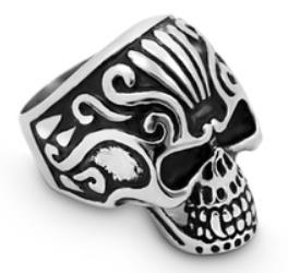 R184 Stainless Steel Crown Head Biker Ring
