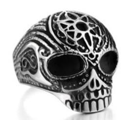 R186 Stainless Steel Flower Cane Skull Biker Ring