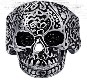 R187 Stainless Steel Medium Sugar Cane Skull Face Biker Ring