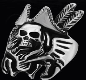 R189 Stainless Steel Pirate Hat Skull Face Biker Ring