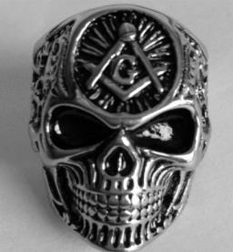 Image R191 Stainless Steel All Seeing Eye Skull Face Biker Ring