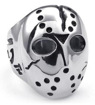 R192 Stainless Steel Jason Face Biker Ring