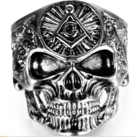 Image R193 Stainless Steel Large All Seeing Eye Biker Ring
