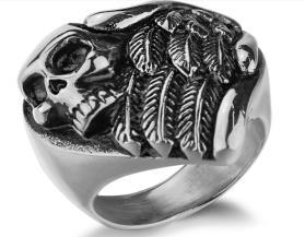 R196 Stainless Steel Feather Wings Skull Biker Ring