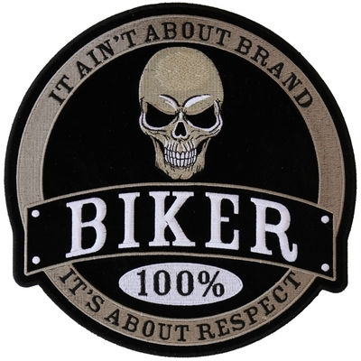 Image PL6105 100% Biker Skull Embroidered Iron on Patch