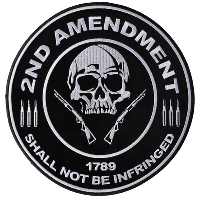 PL3565 2nd Amendment Shall Not Be Infringed Skull 1789 Large Embroidered Iron on