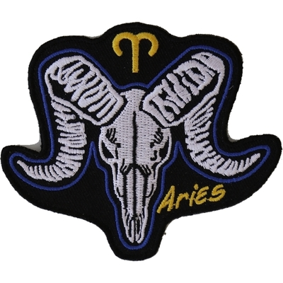 P5479 Aries Skull Zodiac Sign Patch