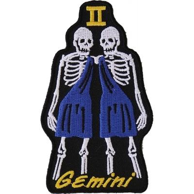 P5476 Gemini Skull Zodiac Sign Patch