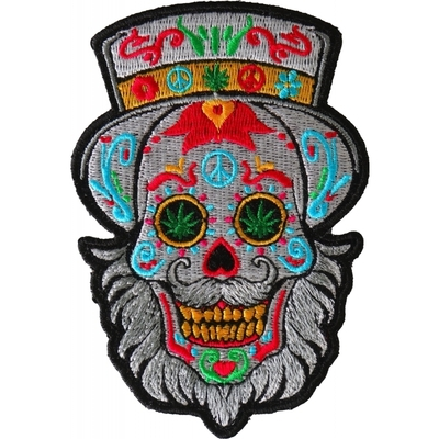 P6705 Bearded Sugar skull Small Iron on Patch