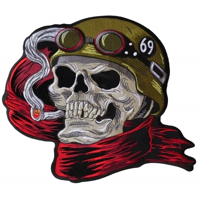 PL6016 Biker Skull Embroidered Iron on Patch