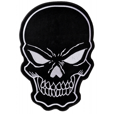 Image PL3422 Black Skull Embroidered Iron on Patch