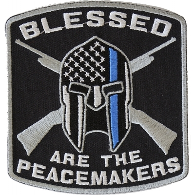 P4622 Blessed Are The Peacemakers Thin Blue Line Patch For Law Enforcement