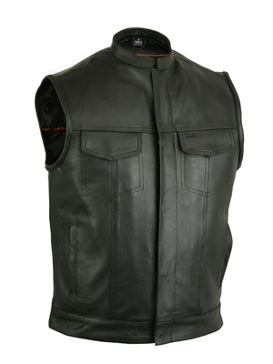 Image DS189A Concealed Snap Closure, Milled Cowhide, Scoop Collar & Hidden Zipper