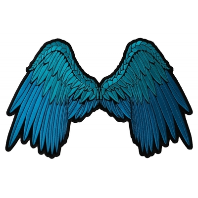 Image PL3012 Pretty Angel Wings in Blue Embroidered Large Iron on Patch