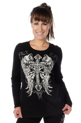 7299 Long Sleeve V-Neck with Cross and Wings