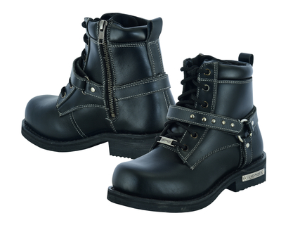 DS9766 Women's Boots with Side Zipper and Single Strap