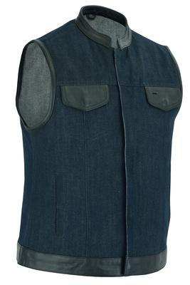 DM964 Women's Broken Blue Rough Rub-Off Raw Finish Denim Vest W/Leather Trim