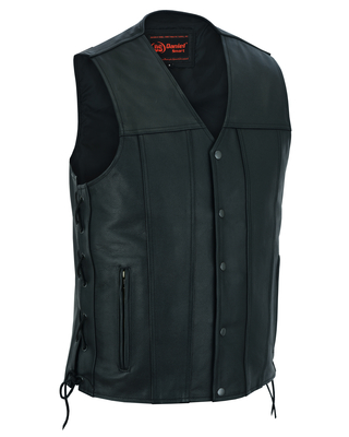 DS161TALL Men's Tall Classic Tapered Bottom Biker Leather Vest
