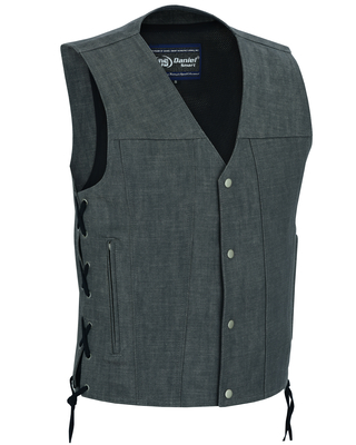 DM918 Men's Rough Rub-Off Raw Finish Broken Gray Denim Vest