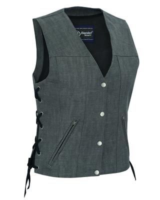 DM919 Women's Rough Rub-Off Raw Finish Broken Gray Denim Vest