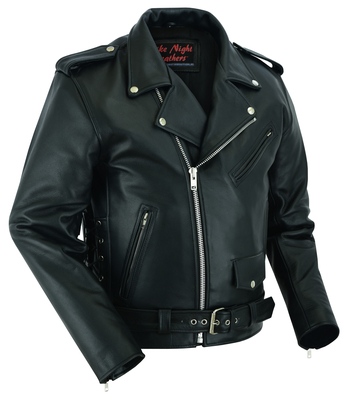 DS711 Economy Motorcycle Classic Biker Leather Jacket