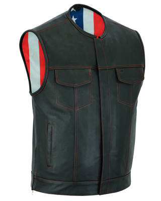 Image DS155 Men's Leather Vest with Red Stitching and USA Inside Flag Lining