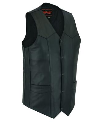 DS162TALL Men's Tall Classic Biker Leather Vest