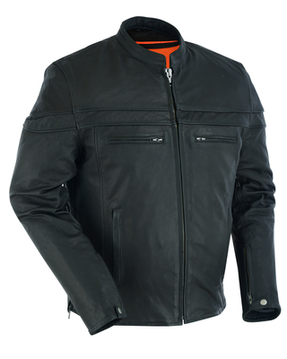 DS768 Men's Sporty Lightweight Leather Cross Over Jacket