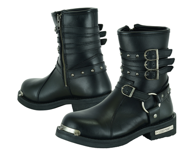 DS9767 Women's 9 Inch Black Triple Buckle Leather Harness Boot