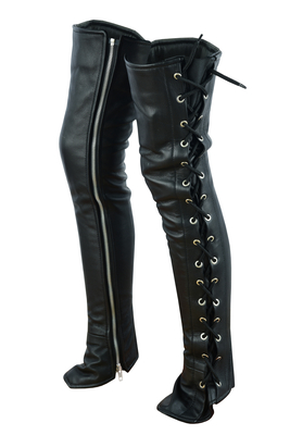 Image DS422 Women's Black Thigh High Leather Side Lace Leggings
