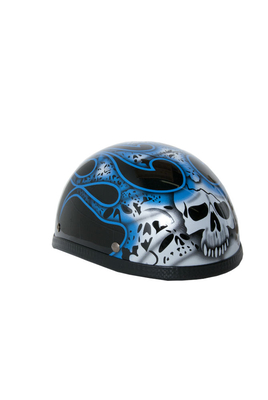 Image H13BU  Novelty Eagle Blue Skull & Flames - Non- DOT