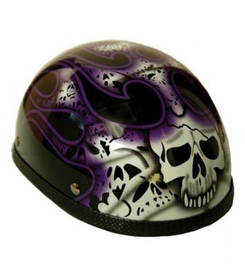 H13PU  Novelty Eagle Purple Skull & Flames - Non- DOT
