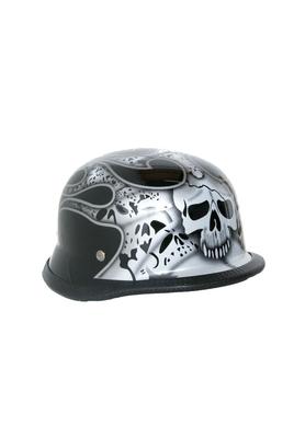 H10SV  Novelty German Silver Skull & Flames - Non- DOT