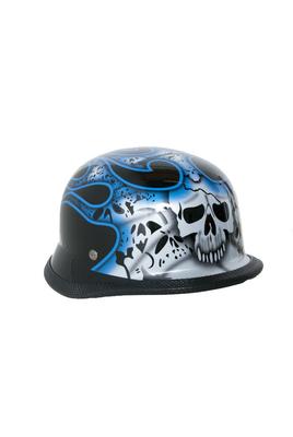 H10BU  Novelty German Blue Skull & Flames - Non- DOT