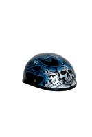 Image H7BU  Novelty Skull Cap Blue Skull & Flames - Non- DOT