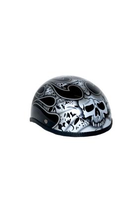 Image H7SV  Novelty Skull Cap Silver Skull & Flames - Non- DOT