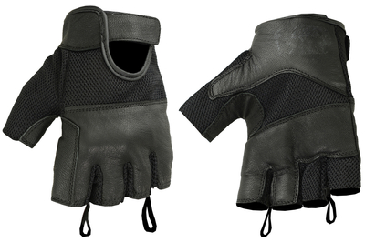 DS17 Leather/ Mesh Fingerless Glove