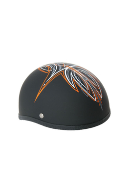 Image H40OR Novelty Skull Cap Orange Perewitz/Flat Black - Non DOT