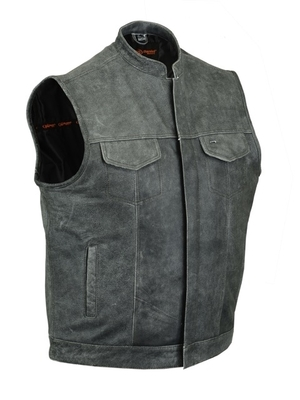 Image DS188V Concealed Snaps,Naked Cowhide, Scoop Collar & Hidden Zipper (Gray)